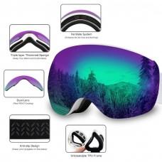 AKASO OTG Ski Goggles, Snowboard Goggles, Mag-Pro Magnetic Interchangeable Lenses, Anti-Fog, 100% UV Protection, Helmet Compatible, Snow Goggles Men & Women, Free Balaclava Ski Mask Included.