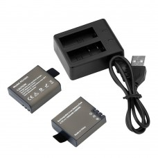 AKASO 2 x 1050mAh Rechargeable Action Camera Battery with USB Dual Charger for AKASO EK7000 EK5000