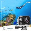 EK7000 Plus Wi-Fi Sports Action Camera, Ultra HD 4K25 Video and 16MP Photo, 100ft/30m Waterproof with Case, Adjustable Viewing Angle, Wrist Remote Control, 2 Batteries, 3 Filters and Accessory Kit Included